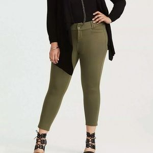 Torrid Olive Stretch Ponte Ankle Trouser Pants